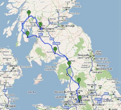 Karte Glasgow - Manchester